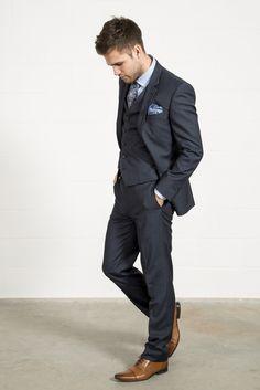 FELLINI TAILORED Luxury Wool Mix Navy Micro Check Three Piece Suit // Slater Menswear