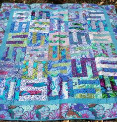 Kaffe Fassett Lap or Bed Quilt  Floral Lap by QuiltsClothsCovers
