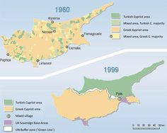 Ethnic map of Cyprus before and after the Turkish invasion. Turkish Cypriots were of the total population but have taken up of the island (Census, Cyprus, Europe, Turkey) Paphos, History Museum, World History, Military Coup, Green Zone, The Turk, Fantasy Map, Alternate History, Historical Maps