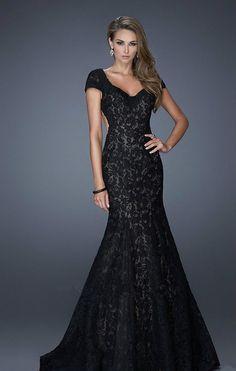 vestidos de gala de encaje negro - Buscar con Google