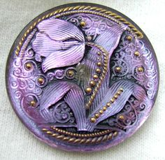 Mirror Back Black Wash on Czech Glass 'Tulip' Button