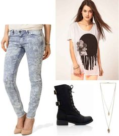 Acid wash jeans, graphic tee, combat boots, gold necklace