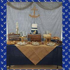 Nautical baby shower cake. Dessert table