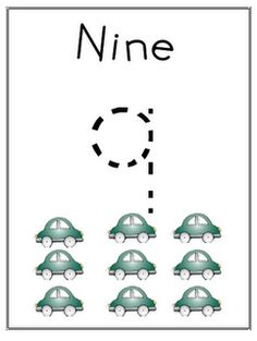 Teaching numbers- make with aggie using stickers (predictable book) with Nine cars at bottom of page