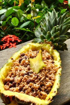 Caribbian Rice & Beans, served in a hollowed out pineapple. Want to see it in the flesh? www.bluebaytravel...