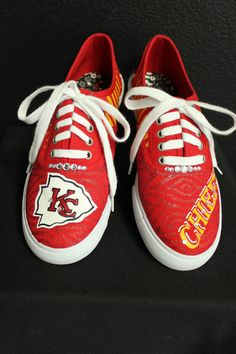Kansa City Chiefs Hand Painted Lace-Up Canvas Shoes