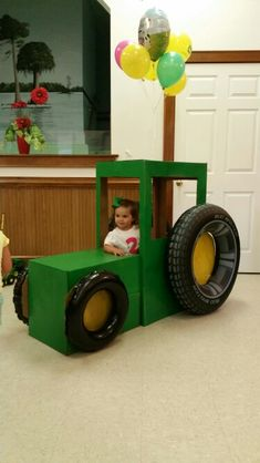 Tractor made out of cardboard boxes!