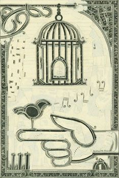"""Sing for Your Supper"" currency collage by Mark Wagner (2008) - photo from Pavel Zoubok Gallery;  6"" x 4"""
