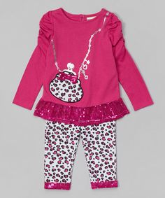 c93678690fe6a Buster Brown Purple Leopard Sequin Tunic & Leggings - Infant & Toddler