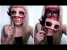 How To: 4 Super Gory Halloween Makeup Tutorials for Women Who Be In Hell . - Make Up - Halloween Halloween 2018, Diy Halloween, Gory Halloween Makeup, Maske Halloween, Creepy Halloween Costumes, Hallowen Costume, Halloween Tutorial, Maquillaje Halloween, Horror Makeup