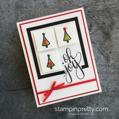 Learn how to create this simple holiday card using Water Color Christmas Stamp Set - Mary Fish Stampin' Up! Card Idea #stampinpretty #maryfish