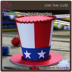 Patriotic Party Hat & Favor Box SVG Cutting File