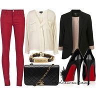 i dont know about the red pants though... maybe gray jeans