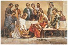 Jesus Washing the Feet of the Apostles by Del Parson {c.1983}