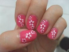 Nail art is becoming popular among young girls. One can express their moods and feelings with the help of nail art. The trend of creating nail polish design is fast catching on. Nail Designs 2014, Flower Nail Designs, Pink Nail Designs, Nail Polish Designs, Simple Nail Designs, Cool Easy Nails, Simple Nails, Fancy Nails, Pink Nails