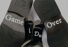 Personalise and bring some fun to your wedding shoes with these great wedding shoes decal stickers. 'Game over' quote for the groom and 'I do' quote for the bride.