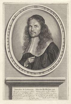 Lambert Visscher   Portret van Stanislaus Lubienitzky, Lambert Visscher, Clemens Gaula, 1643 - 1691   De sterrenkundige en theoloog Stanislaus Lubienitzky. Hij is gekleed in een toga met brede platte kraag en heeft een mutsje op het hoofd. Hij heeft zijn rechterhand op zijn borst. Op de stenen sokkel waarop het portret rust staan zijn naam en een lofdicht in Latijn.