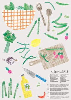 The Garden Centre Group - Charlotte Trounce, food recipe, cooking, illustration, collage, print, mark making, texture, drawing, design, food