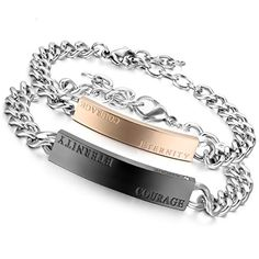 Stainless Valentine Anniversary Christmas - black- gold- for couples - - Bracelets, Identification Black Gold, Jewelry Design, Anniversary, Couples, Bracelets, Courage, Silver, Leather, Amazon Fr