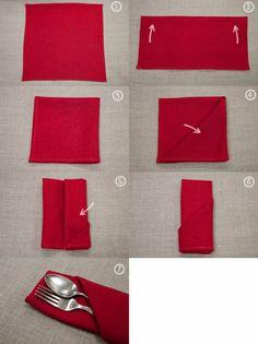 comment plier la serviette d'un manière originale, pliage serviette rouge