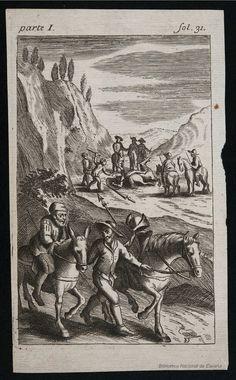 [Don Quijote es apaleado por los mercaderes]. Diodati, François 1647-1690 — Grabado — 1682