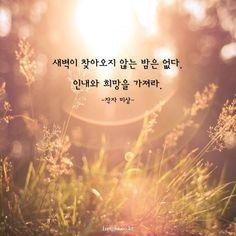 새벽이 찾아오지 않는 밤은 없다. 인내와 희망을 가져라.