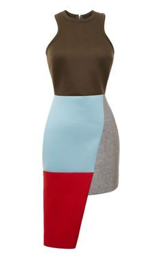 Asymmetric Color-Block Neoprene Dress by Josh Goot Now Available on Moda Operandi