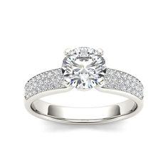 De Couer 14k White Gold 1 1/5ct TDW Diamond Engagement Ring (H-I, I1-I2) (Size - 8), Women's