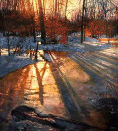 "Painting: ""Tree Shadows"" by Todd Doney Winter Landscape, Landscape Art, Landscape Paintings, Paintings I Love, Oil Paintings, Indian Paintings, Abstract Paintings, Painting Art, Shadow Painting"