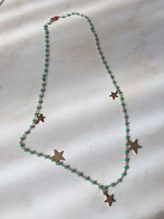 Rosario chain in pink gold metal with Tiffany green crystals. pendants in the shape of a starlet of two dimensions. Moon Earrings, Statement Earrings, Handmade Necklaces, Handcrafted Jewelry, Witch Jewelry, Moon Jewelry, How To Make Necklaces, Ethnic Jewelry, Artisan Jewelry
