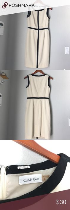 Calvin Klein | Dress Cream colored dress with black trim. size 4 Dresses
