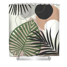Minimal Jungle Leaves Finesse #2 #tropical #decor #art Shower Curtain for Sale by Anitas and Bellas Art