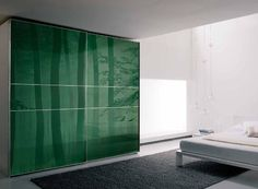 2013 Modern Forest Landscape Of Green Glass Wardrobe With Gray Fur Rug