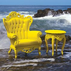 Sometimes an elaborate Victorian armchair isnt actually an expensive antique. When you find one and are ready to reupholster, consider painting the chair the same color for a modernizing effect with plenty of whimsy. - Home Decoz Funky Chairs, Cool Chairs, Yellow Chairs, White Chairs, Funky Furniture, Furniture Makeover, Baroque Furniture, Outdoor Furniture, Deco Baroque