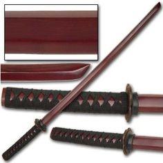 2 Pcs Red Kendo Wooden Bokken Samurai Practice Katana Sword Set