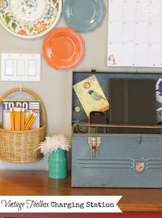 The Happy Housie Vintage Toolbox Charging Station
