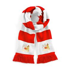 a6ee84ec0d54e Retro Manchester United 1970s Red White Football Scarf Embroidered Logo   OldSchoolFootball Retro Football