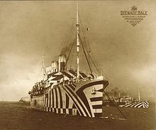Dazzle ships. Made around WW1 to confuse onlookers about the ships' direction, size, and general orientation. Where we get the term 'razzle dazzle.'