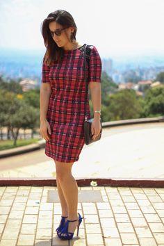 Vestido xadrez de neoprene - Drops das Dez