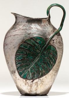 Pitcher; Silver Plate, Castillo (Emilia), Hammered Surface, Applied Leaf, Inlaid harstone, 14 inch.