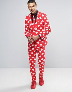 OppoSuits Slim Valentine's Heart Print Suit + Tie $91 At Asos Suit by OppoSuits, Smooth woven fabric, Valentine's heart print design, Matching tie, Slim fit Machine wash, 100% Polyester https://api.shopstyle.com/action/apiVisitRetailer?id=625708720&pid=uid841-37799971-81