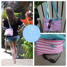 Beach Sling Summer Tote Bag - Preppy Palms Berry Pink Stripes, Brunch Beach Bag, Eco Canva... $34.99