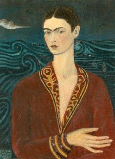 "Self Portrait in a Velvet Dress, 1926 - Frida Kahlo's first self-portrait, first given to her student boyfriend Alejandro Gomez Arias. The aristocratic pose reflects Frida's interest in the paintings of the Italian Renaissance period. This self-portrait is Frida's interpretation of Botticelli's ""Venus."" When Arias' parents separated them, he returned the painting, and it was one of the four that she showed to Diego Rivera to first ask his opinion of her work."