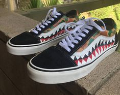 new product 237c8 1e3a9 Custom Old Skool Waterproof Vans with Camouflage and Bape Teeth, Custom Vans,  Custom Shoes · ZapatillasZapatos ...