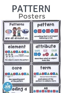 When teaching patterning to young children it is important to teach the correct vocabulary. These pattern posters can help teach pattern words to kindergarten grade 1 and grade 2 students. They make a great bulletin board display! Teaching Patterns, Math Patterns, Number Patterns, Patterning Kindergarten, Kindergarten Math, Preschool Math, Grade 2 Patterning Activities, Help Teaching, Teaching Math