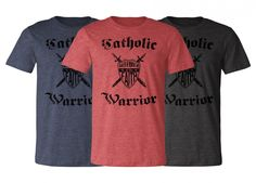 """Show your loyalty to the One Holy Apostolic Church with this awesome Catholic Warrior """"Defender of Faith"""" T-Shirt. This Catholic Warrior T-Shirt makes an excellent gift for Catholic apologists, religious teachers, and enthusiastic teens who want to bring their faith to the world!"""