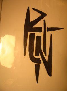 Tribal run tattoo.