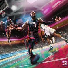 Miami Heat 'Big Three' Art