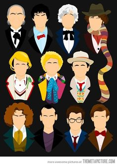 Every Dr. Who incarnation in one picture… I love how Number Ten's eyebrow is raised.