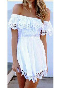 White Plain Lace Hollow-out Boat Neck Dress